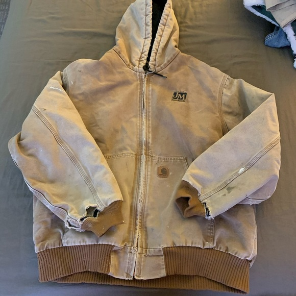 Distressed Carhartt Blanket Lined Jacket W/ Patch